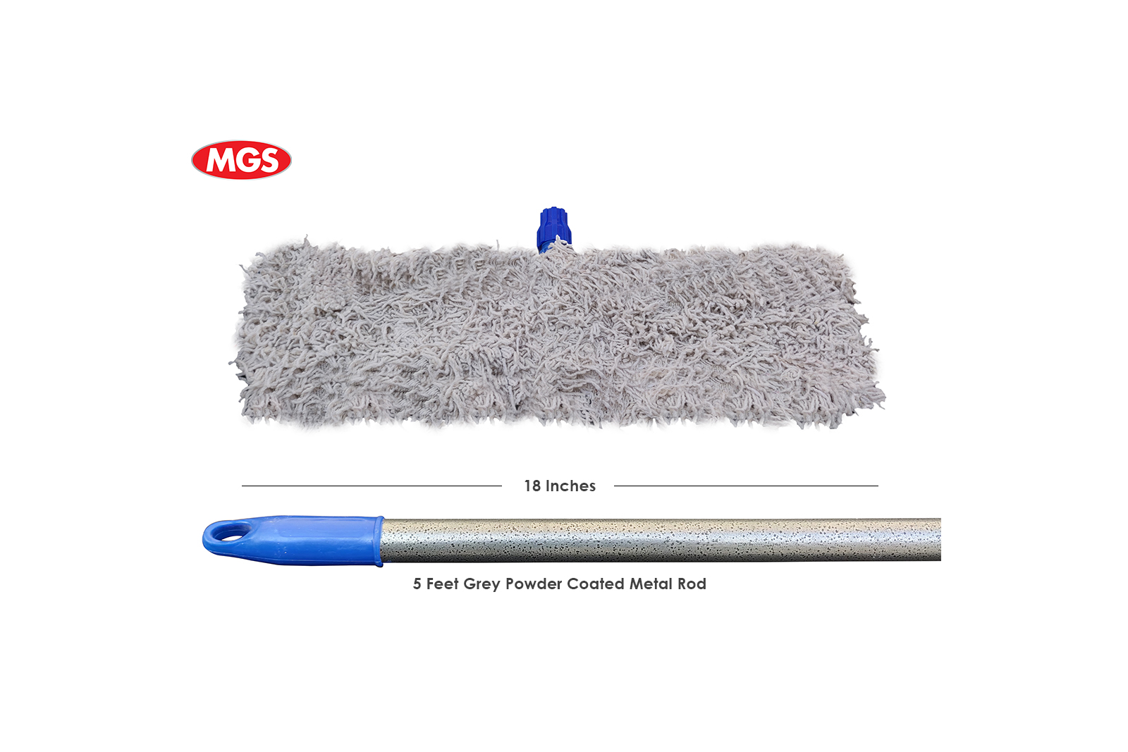18 inches Dry Mop Simple with 4 Feet Metal Rod – Dry Mop By MGS