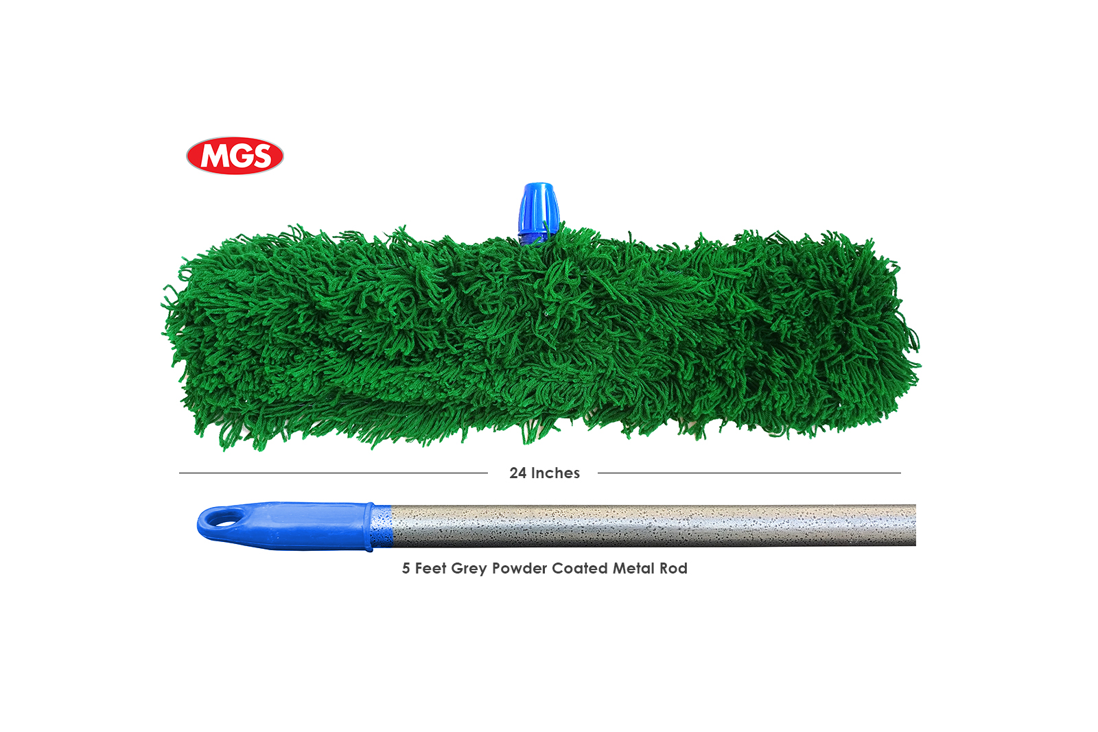 24 inches Green Dry Mop with 5 Feet Metal Rod – Mop By MGS