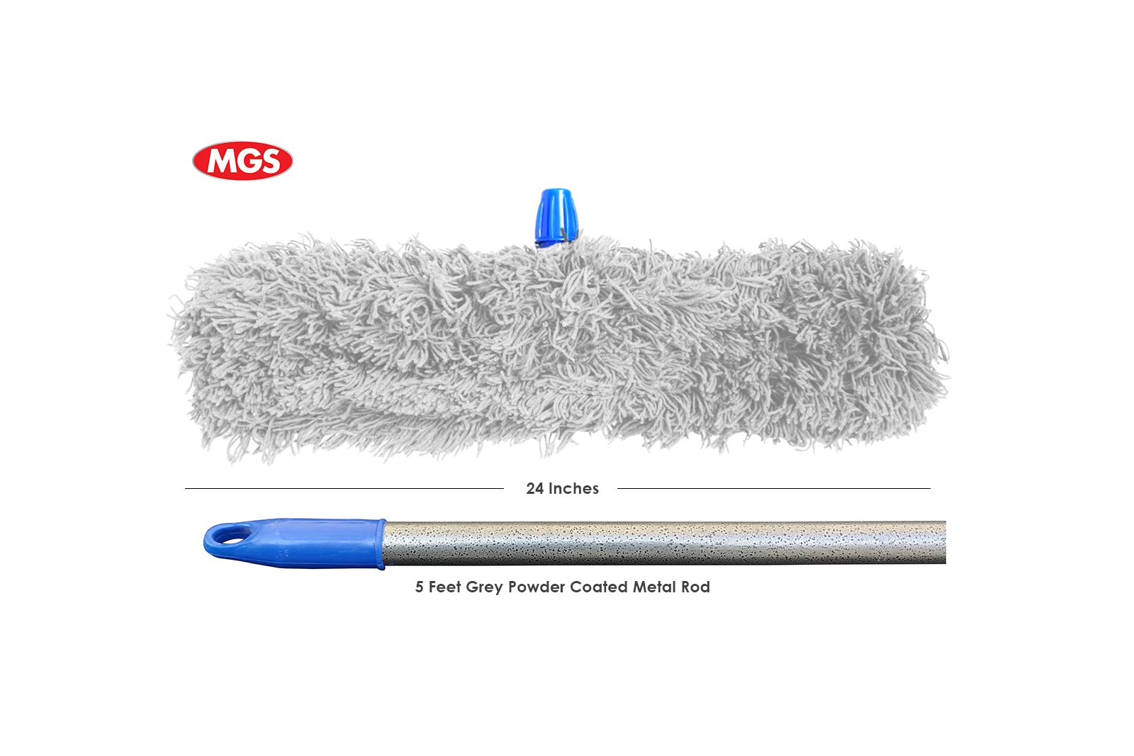 24 inches Grey Dry Mop with 5 Feet Metal Rod – Mop By MGS
