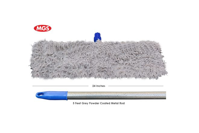 24 Inches Simple Dry Mop with 5 Feet Metal Rod,Dry Mop, Simple Dry Mop